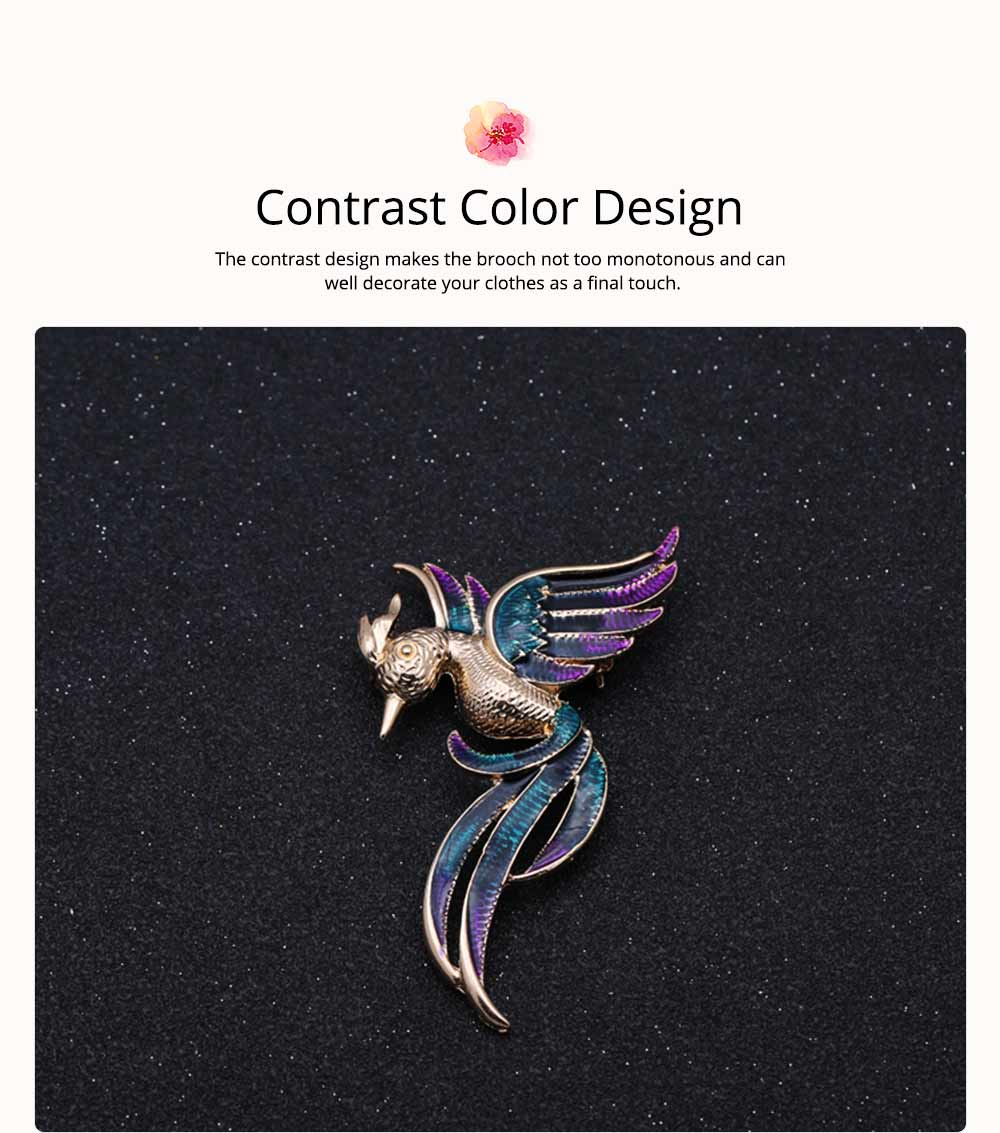 Little Dainty Phoenix Bird Enamel Painted Alloy Breastpin for Women, Colorful Dripping Scarf Clothes Decoration Accessories Animal Brooch 5