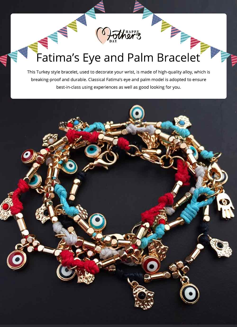 Classical Turkey Style Stainless Hand Chain, Fatima's Eye and Palm Model 0