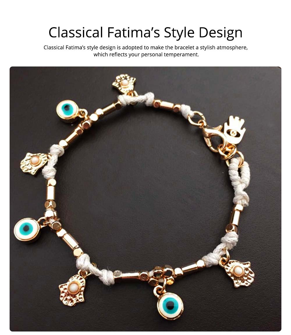 Classical Turkey Style Stainless Hand Chain, Fatima's Eye and Palm Model 3