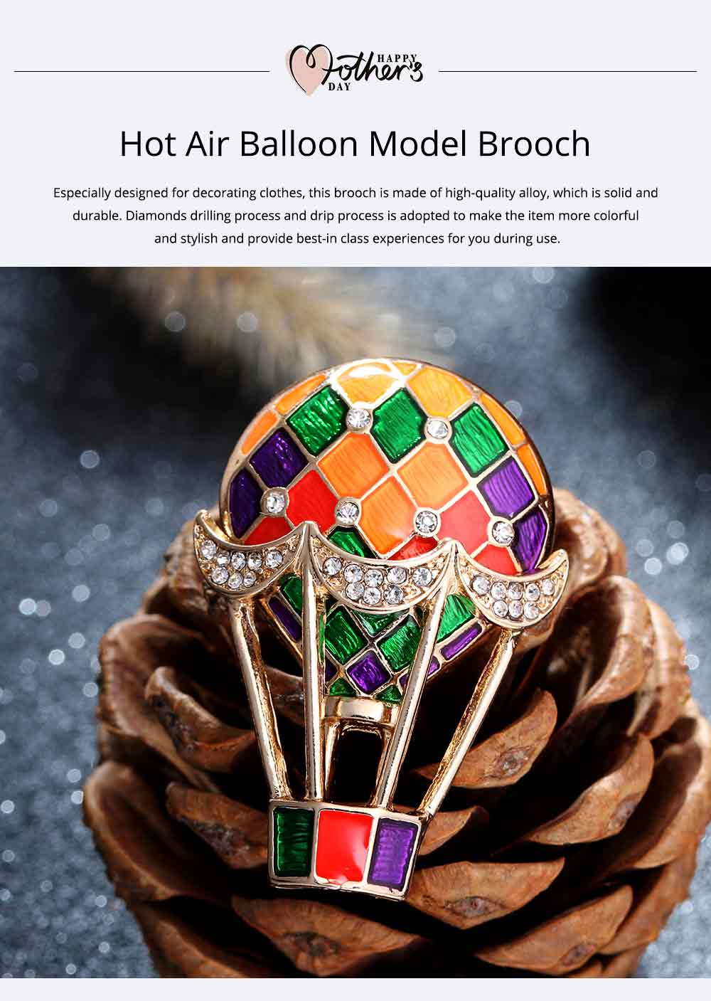 Colorful Enamel Painted Hot Air Balloon Model Brooch for Ladies, Stylish Diamonds Drilling Dripping Breastpin 0