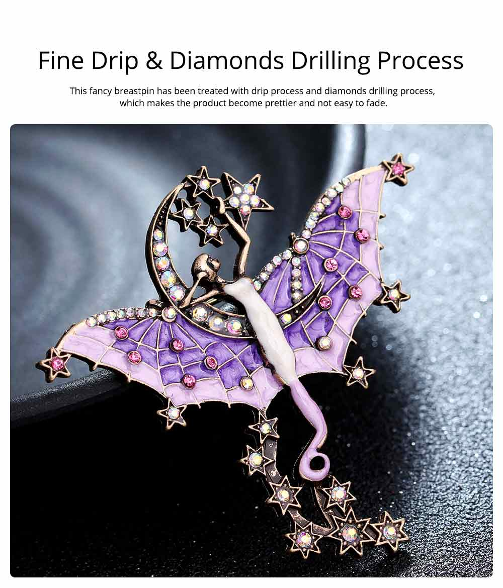 Dainty Fairy Stars Moon Model Alloy Brooch for Women Ladies, Stylish Bag Clothes Decoration Breastpin with Diamond Drilling Ornament 2