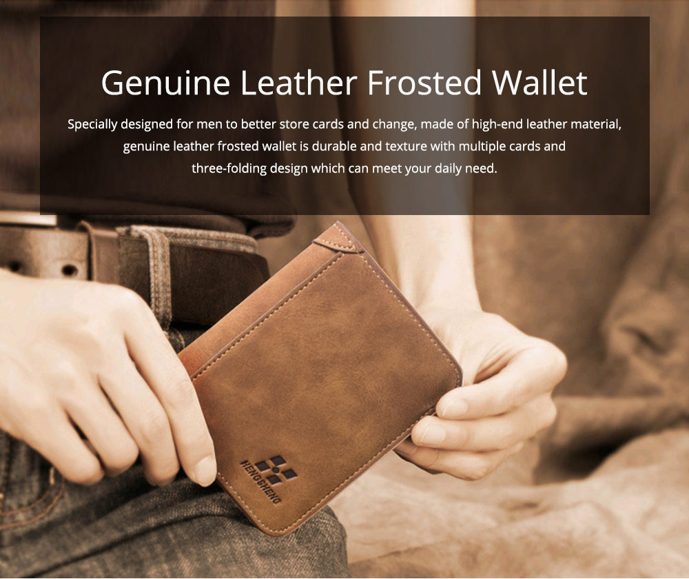 Genuine Leather Frosted Wallet with Three-folding & Multiple Cards Design & SIM Card Slot for Men. 0