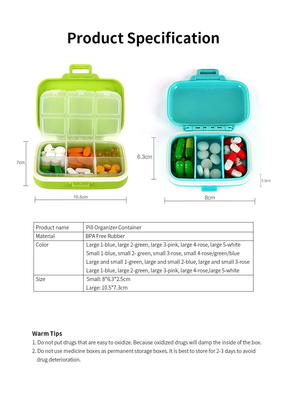 Food Grade Odorless Medicine Box, Sealed Gasket Pill Case, Detachable Insert Weekly Pill Box for Elderly Children Office Worker 5