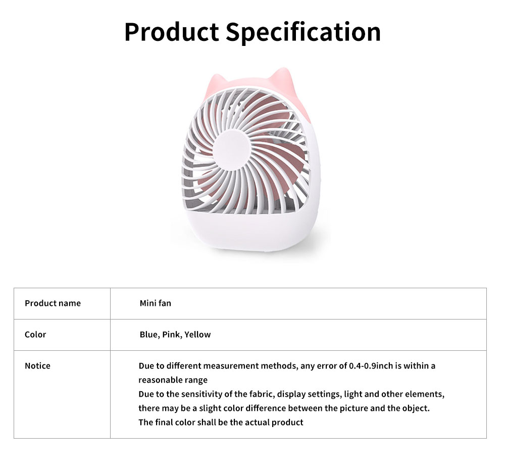 Rechargeable USB Desk Fan Portable Ultra-Quiet PP Plastic Mini Fan 4-Speed Wind 20 Hour Standby 6