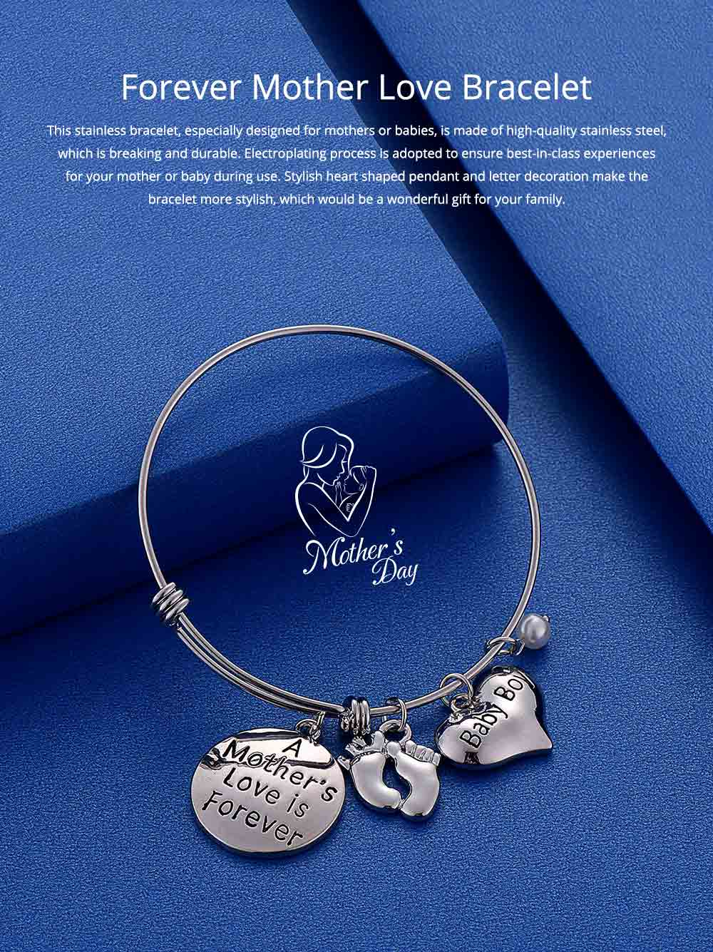 Heart Shaped Stainless Steel Bracelet, Pendant Mother Love Baby Boy Letter Decoration 0