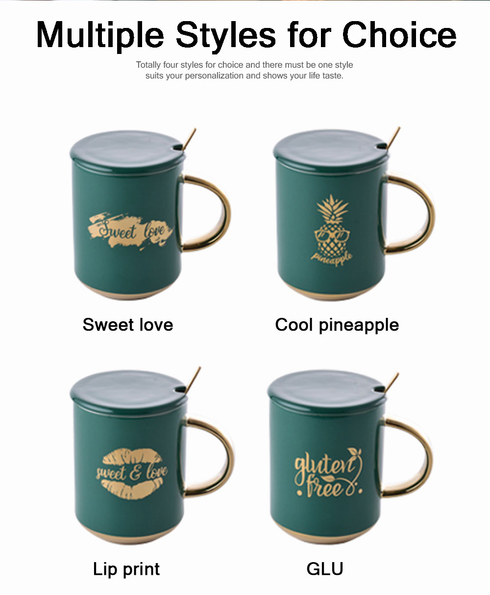 Luxury Gold-plated Dark Green Cup with Spoon and Lid, Office Drinking Creative Gold Coffee Mug Set 5