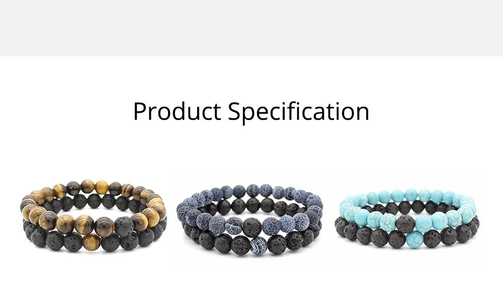 Minimalist Tiger Eye Natural Stone 8MM Beaded Hand Chain Suit, 2PCS Translucent Lava Beaded Bracelet Set for Men Ladies Women 9