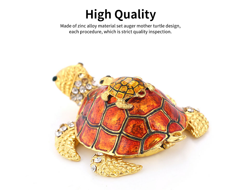 Southeast Asian Style Enamel Painted Crafts, Diamond Mother and Child Turtle Home Decoration, Exquisite Small Jewelry Box 1
