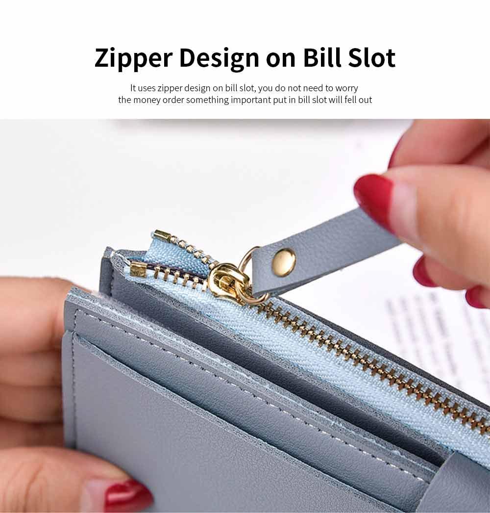 Ladies Snap Button Purse, Long Tri-fold Credit Card Purse Card Holder 3