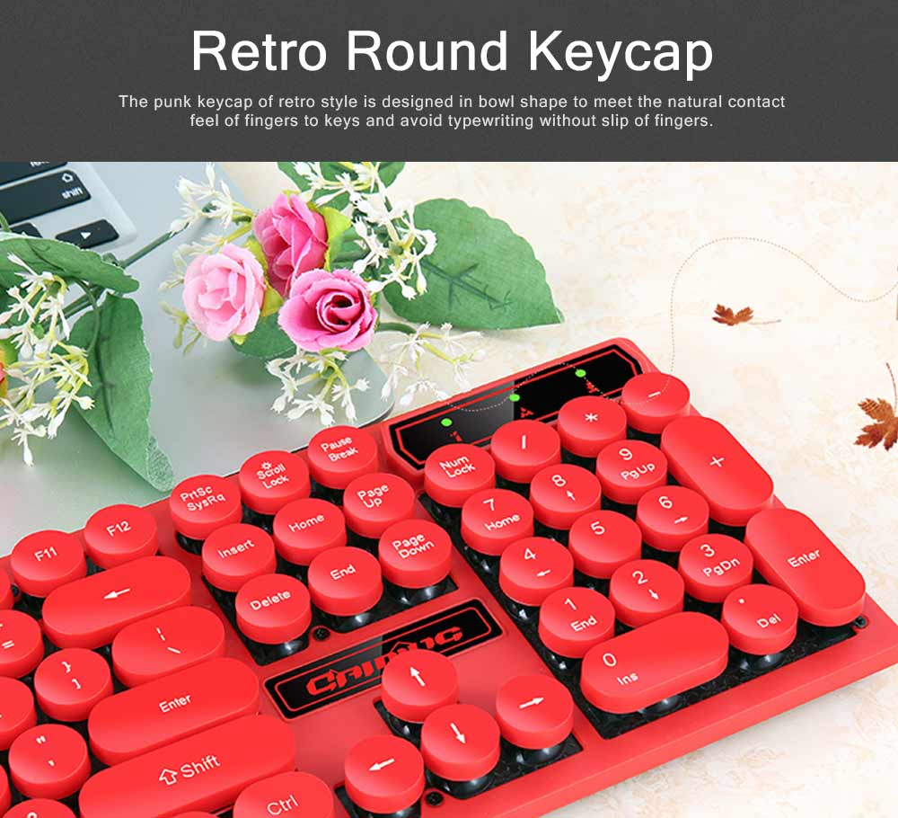 Retro Punk Mechanical Keyboard with Wire Game Keyboard Light Computer Accessories 1