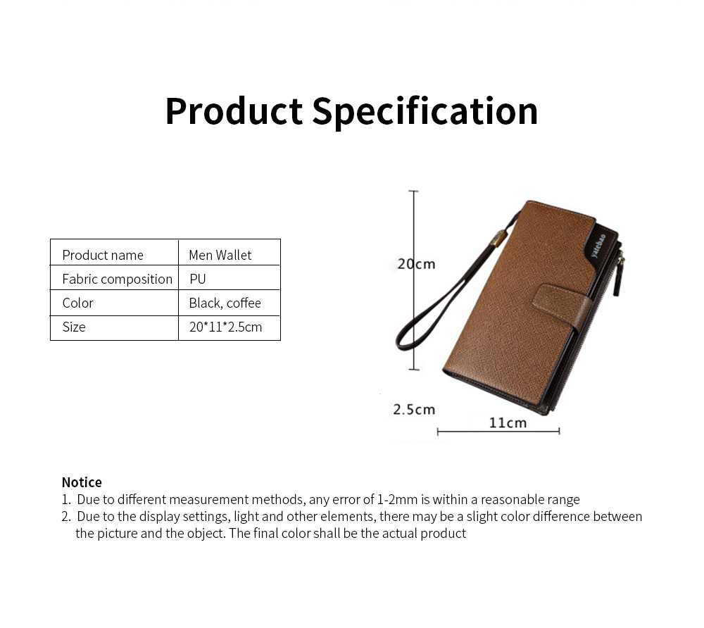 High-End Business Men's Handbags, Zipper Multifunctional Leather Clutch Wrist Bags 5