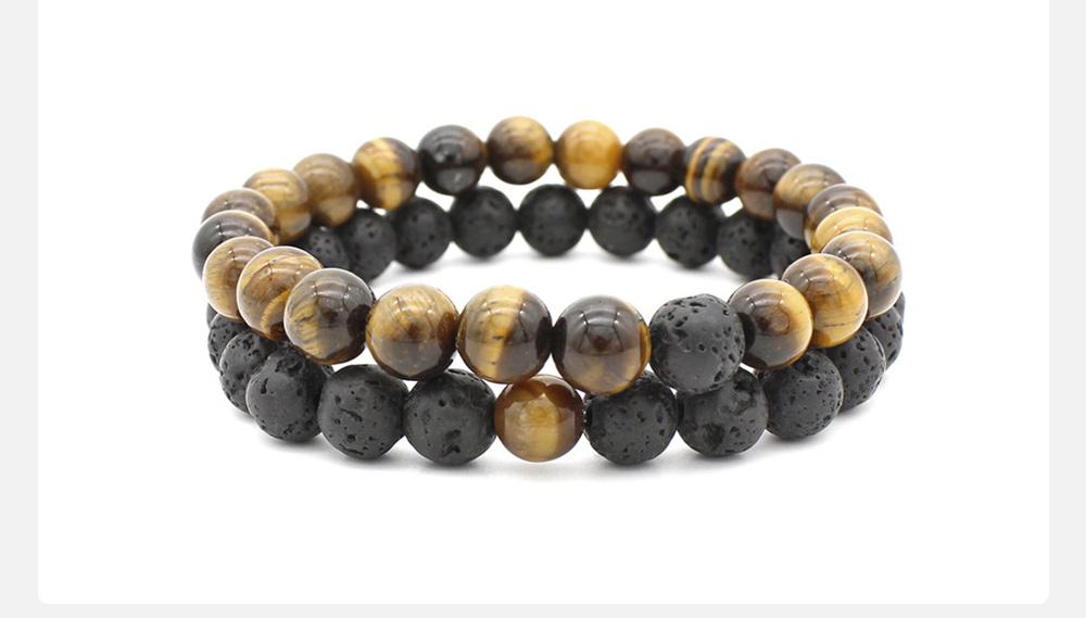 Minimalist Tiger Eye Natural Stone 8MM Beaded Hand Chain Suit, 2PCS Translucent Lava Beaded Bracelet Set for Men Ladies Women 2