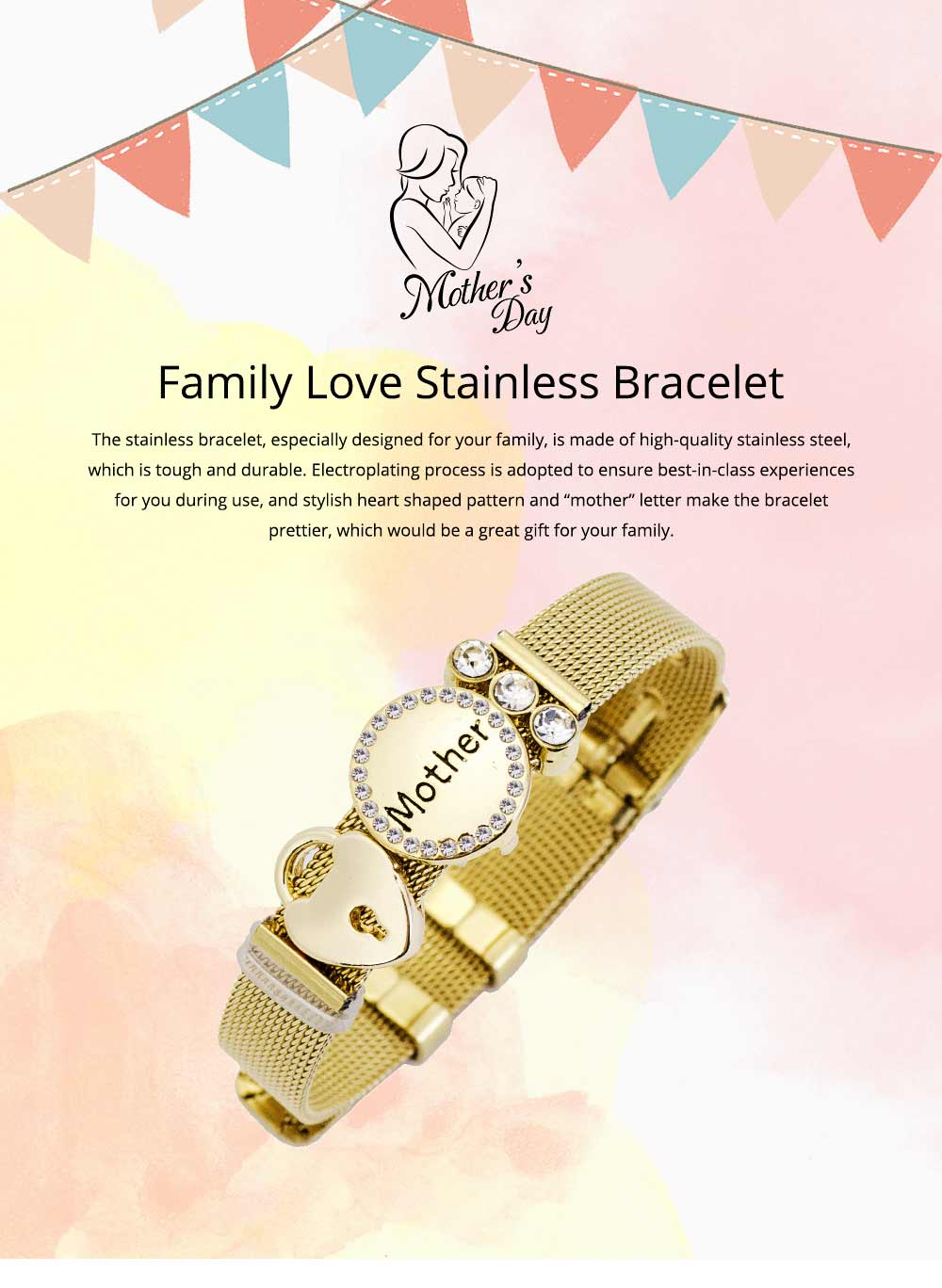 Stylish Heart Lock Model Mother Love Diamond Drilling Stainless Steel Bracelet, Family Love Electroplating Silver Gold Chain Bangle for Mothers 0