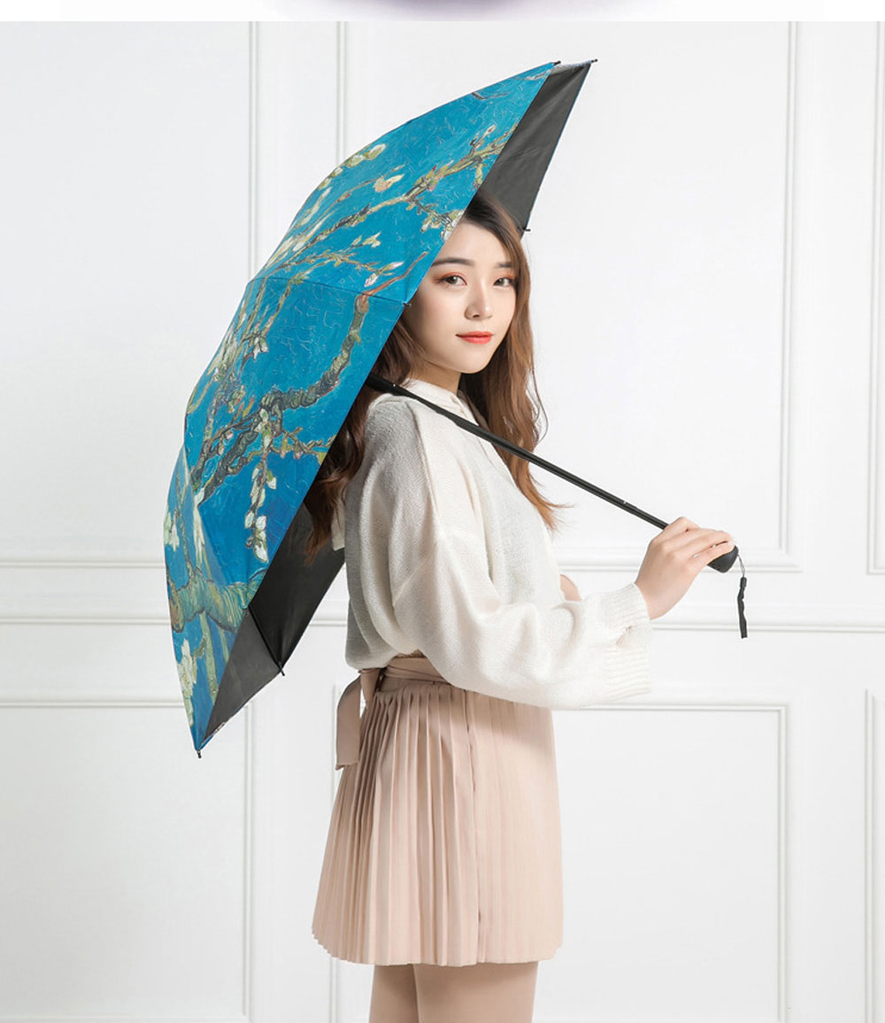 Lady's Multifunctional Outdoor Sun Umbrella with Triple Fold Sun Block of Van Gogh Painting Design 7