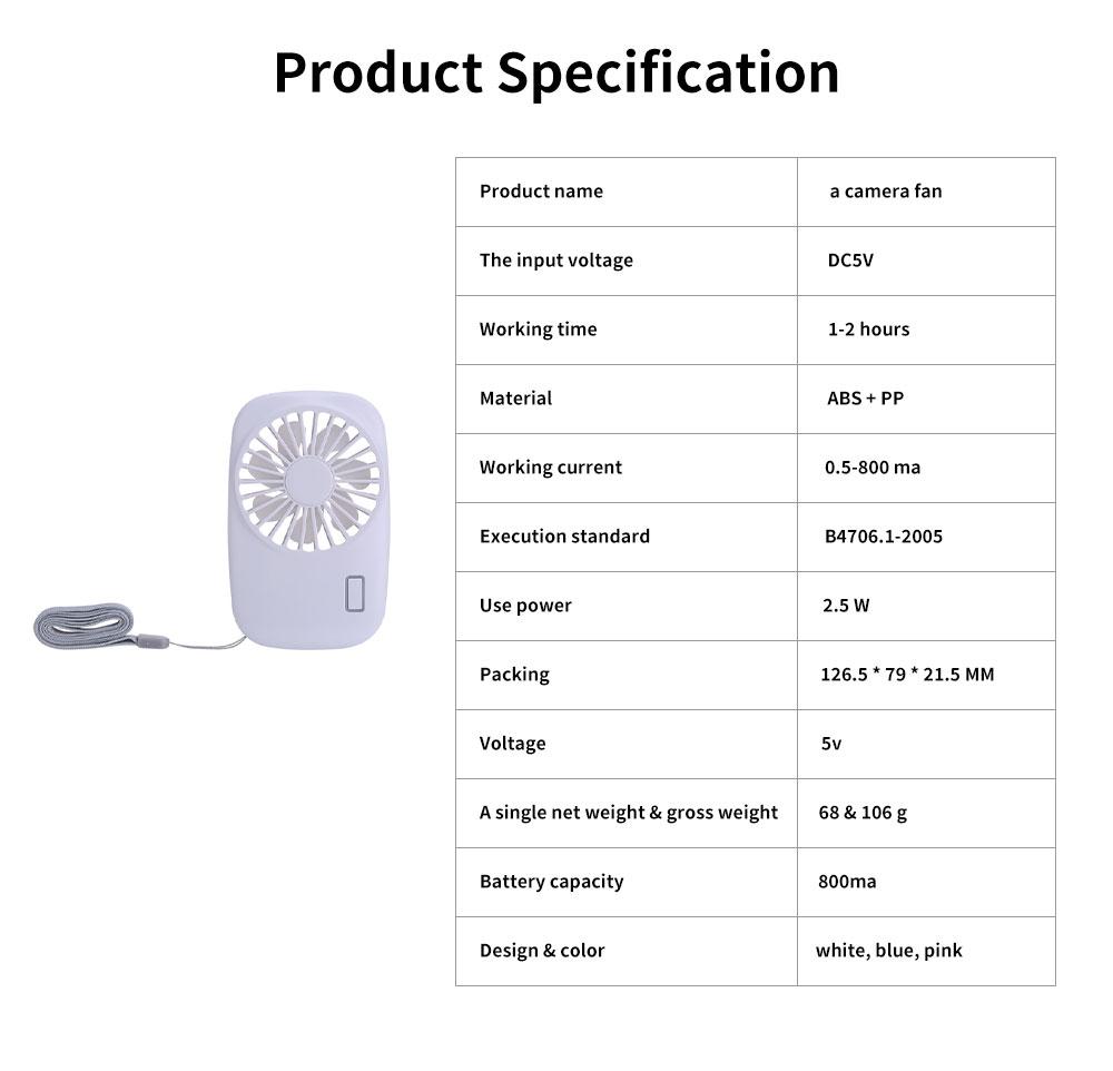 USB Rechargeable Camera Fan, Outdoor Portable Pocket Fan, Ultra-thin Handheld Mini Fan, Silent Compact Fan 6