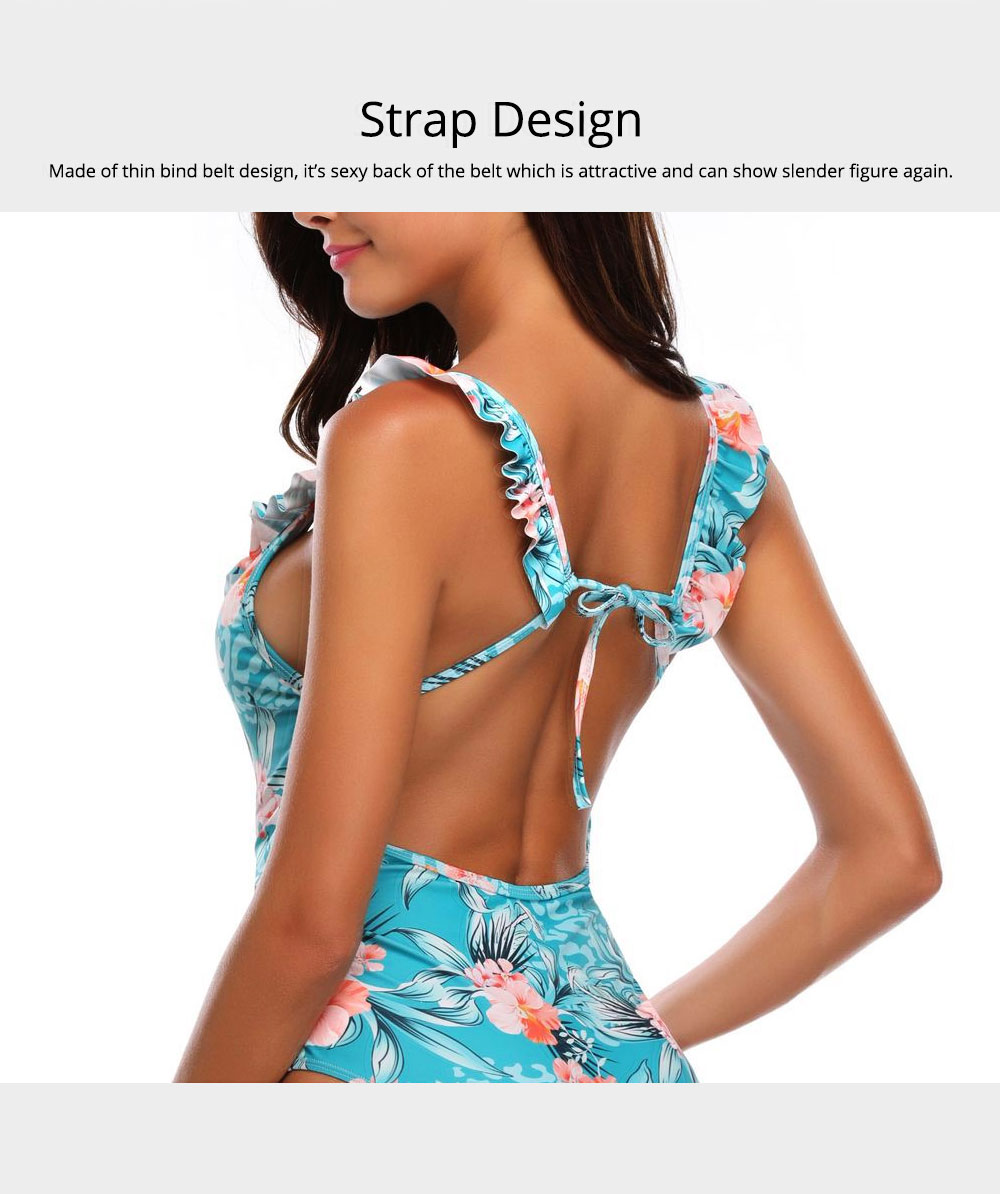 Backless Sexy Swimsuit with Carrying Buttock & Band Design, Printing Skin-friendly Comfortable Swimsuit 6