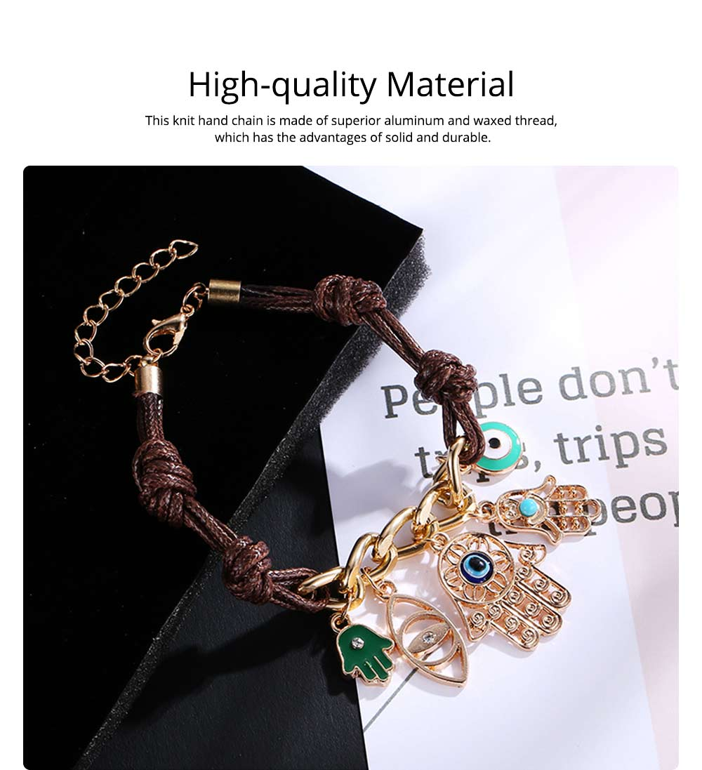 Classical Stylish Fatima's Palm and Eye Model Knit Hand Chain, Durable Shiny Aluminum Alloy Bracelet for Men Ladies Women 1