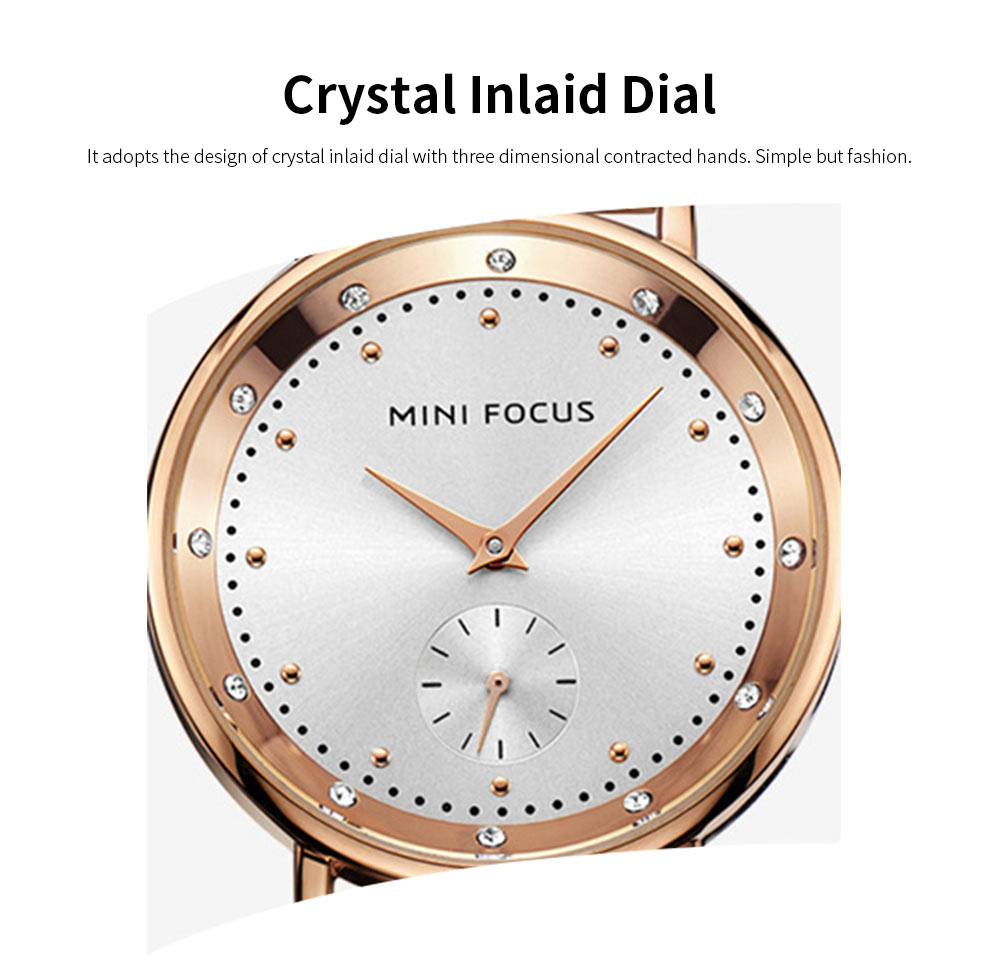 Diamond-encrusted Lady's Watch, Stainless Steel Band Casual Quartz Wrist Watch, Ladies Waterproof Stylish Watch 1