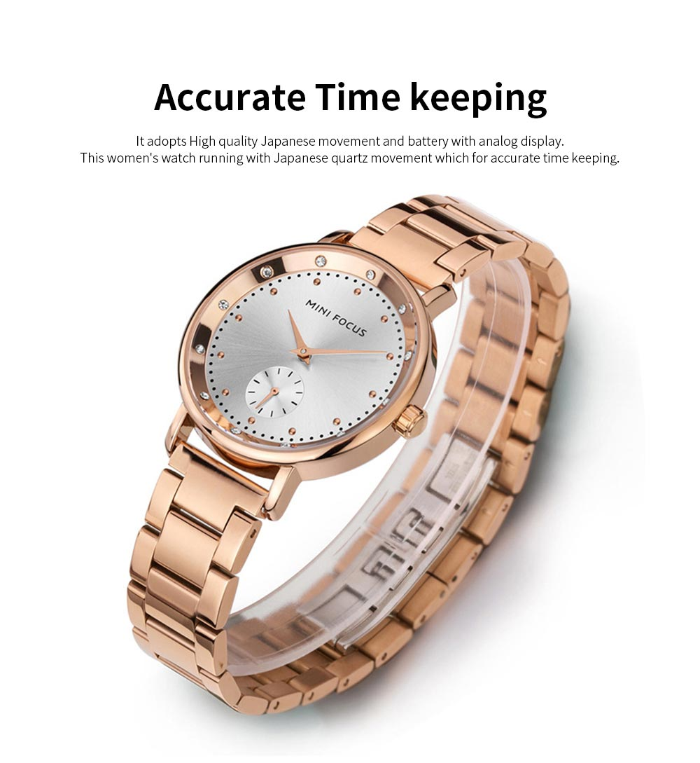Diamond-encrusted Lady's Watch, Stainless Steel Band Casual Quartz Wrist Watch, Ladies Waterproof Stylish Watch 3