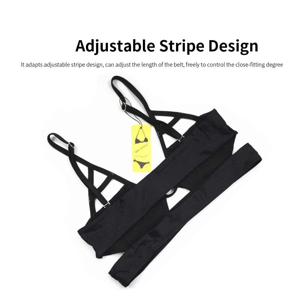 Women's Spaghetti Straps Bandage Bikini Suit, Sexy Bikini with Hollow Design, Hollow Bikini without Steel Falsies Support 1