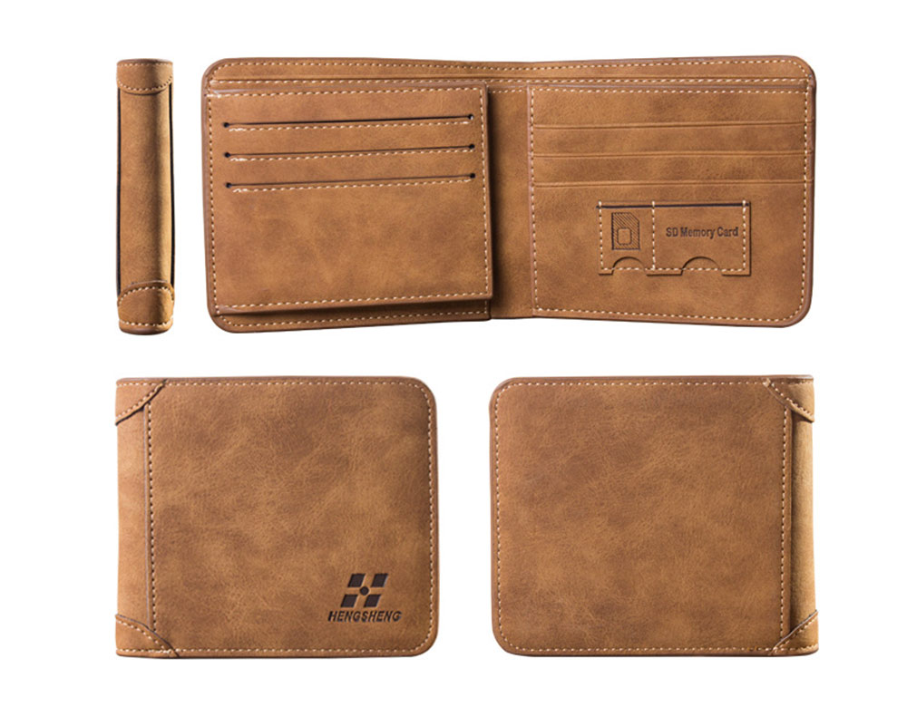 Genuine Leather Frosted Wallet with Three-folding & Multiple Cards Design & SIM Card Slot for Men. 8