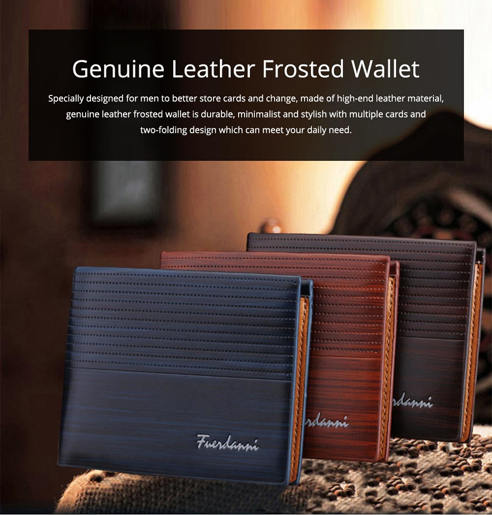 Business Style Genuine Leather Frosted Wallet with Two-folding and Multiple Cards Design for Men 0