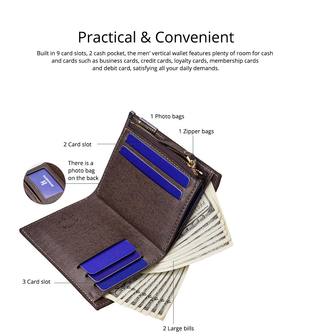 Checkered Change Purse with Two-folding & Multiple Cards Design, Business Genuine Leather Style for Men 5