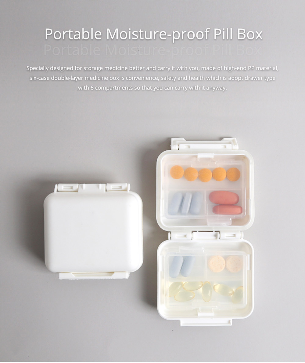 Portable Moisture-proof Double Layer Weekly Pill Box with 6 Removable Compartments 0
