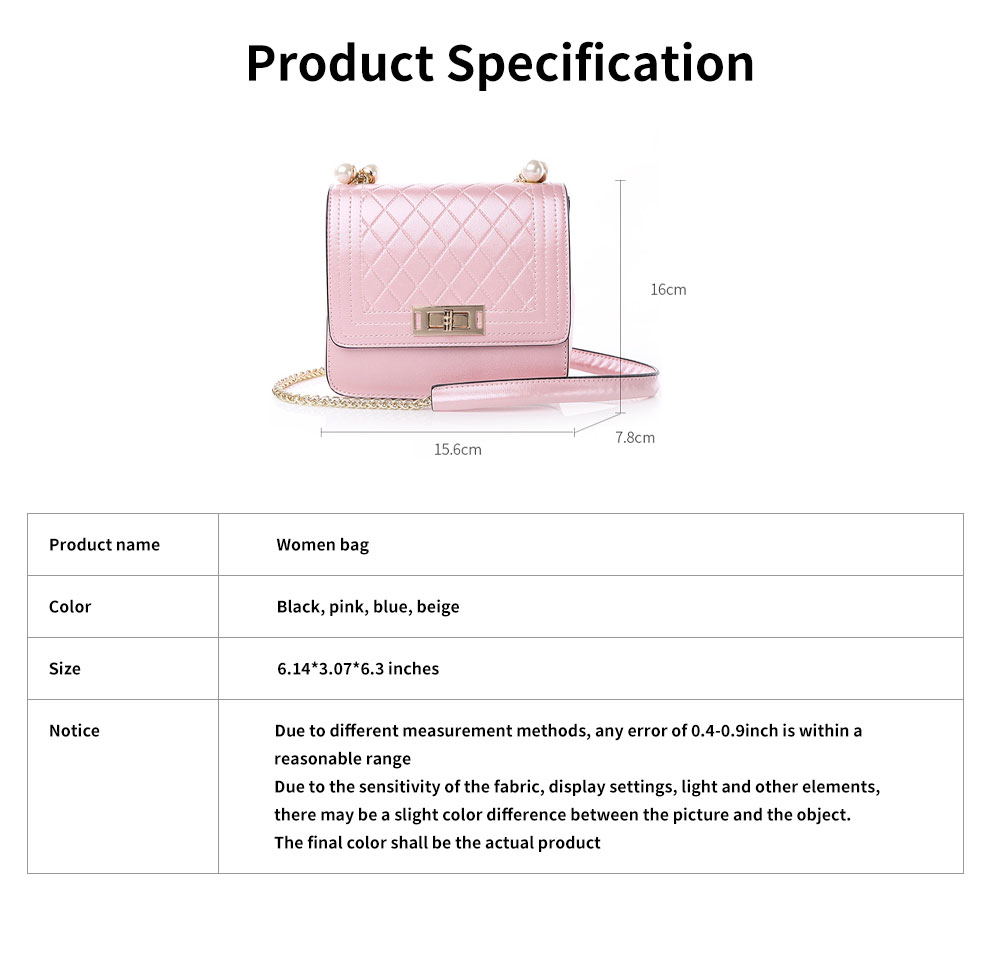 2019 Fashion Female PU Handbag Packets Shoulder Bag Crossbody Chain Small Square Tote Bag for Women Youth Lady Girl 6