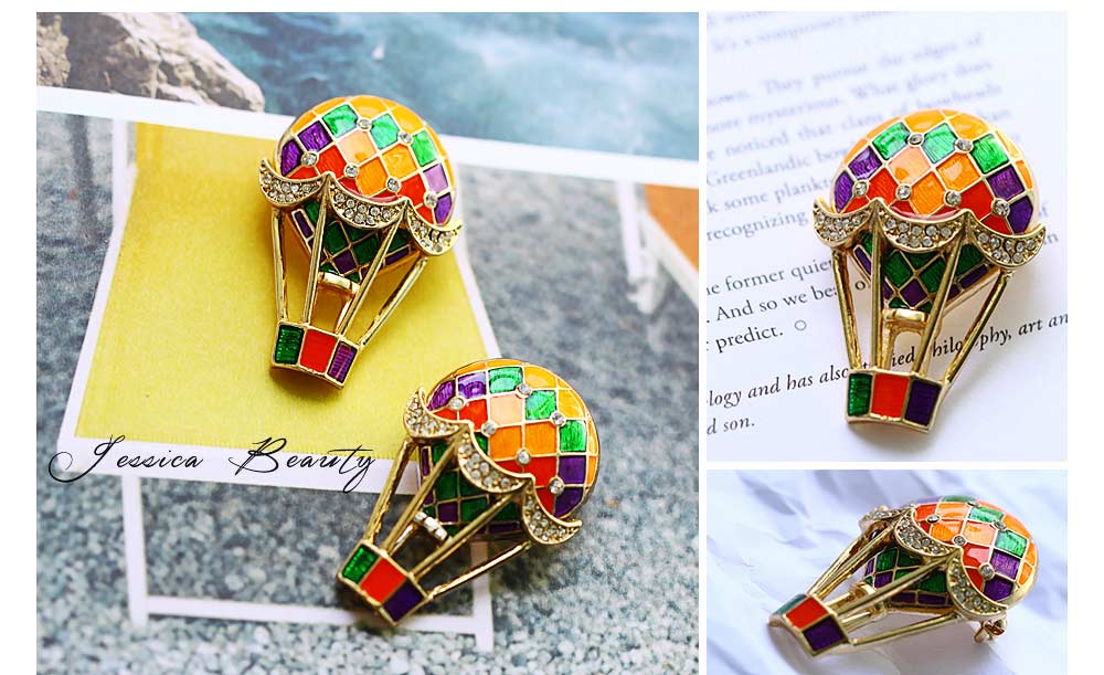Colorful Enamel Painted Hot Air Balloon Model Brooch for Ladies, Stylish Diamonds Drilling Dripping Breastpin 4