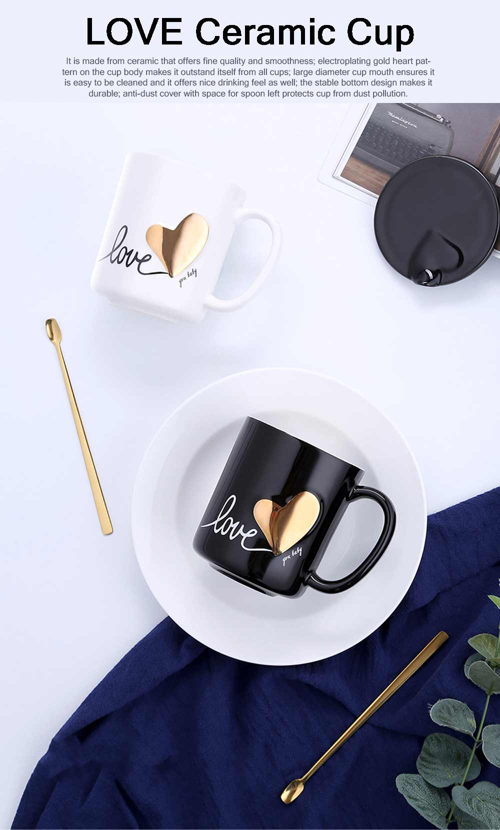 Cute Simple Ceramic Mug with Cover and Spoon, Dishwasher safe, Gifts for Lover 6