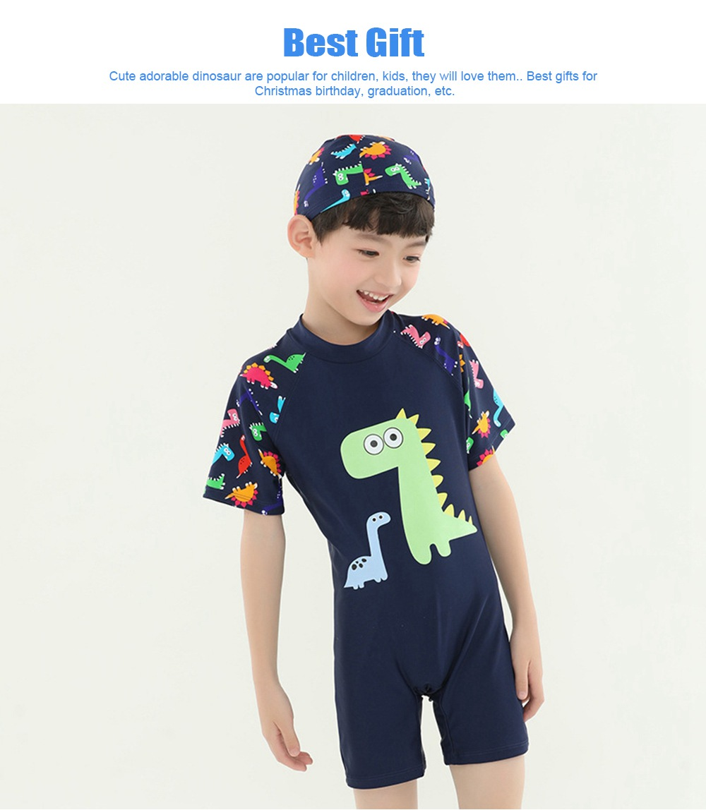 Little Boys One Piece Sunsuit Cute Short Sleeve Surfing Swimsuit Dinosaur Monster Children's Swimsuit with High Elasticity 3