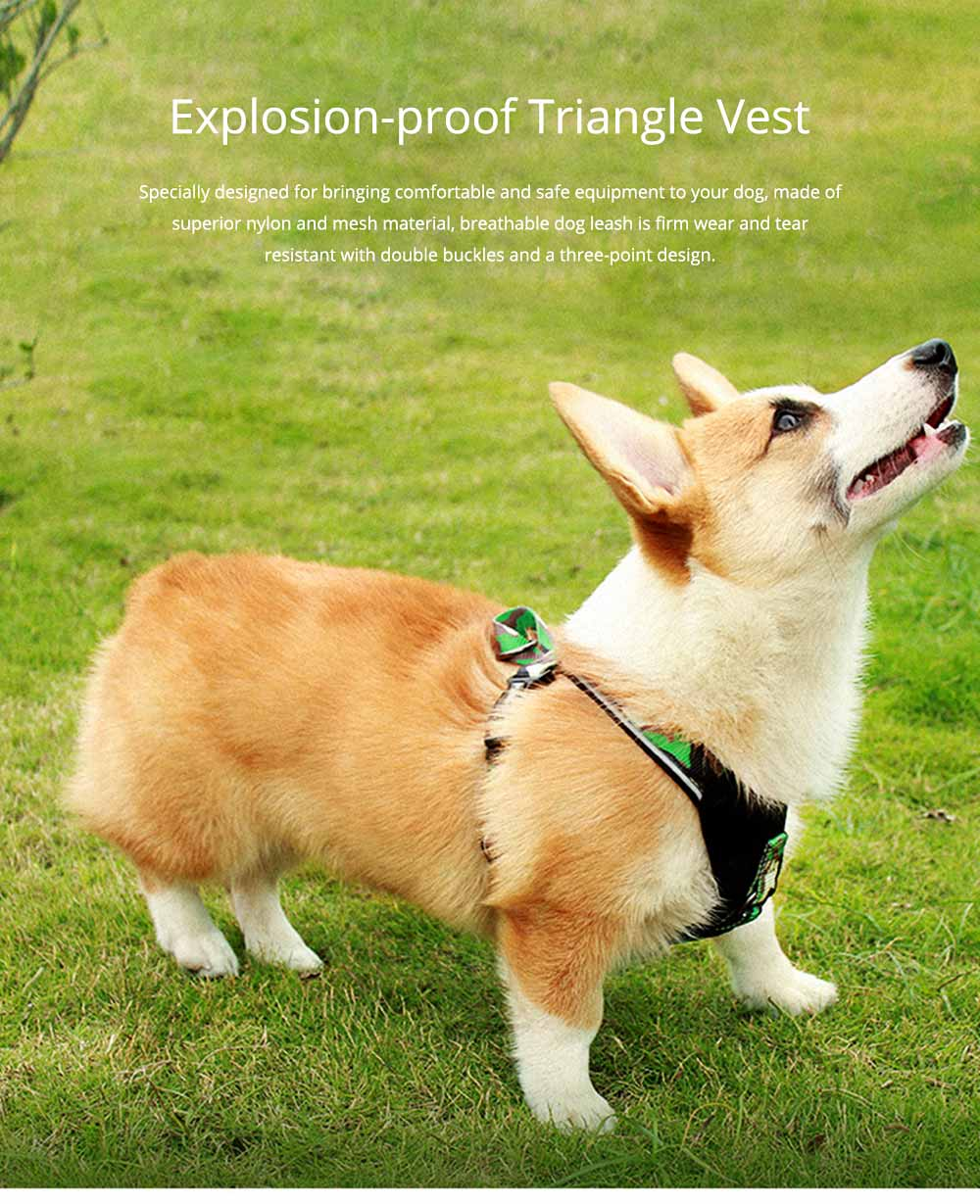 Pet Triangle Chest Strap for Medium-sized Large Dog, Dog Safety Vest Harness with Double Buckles and Zinc Alloy Ring 0