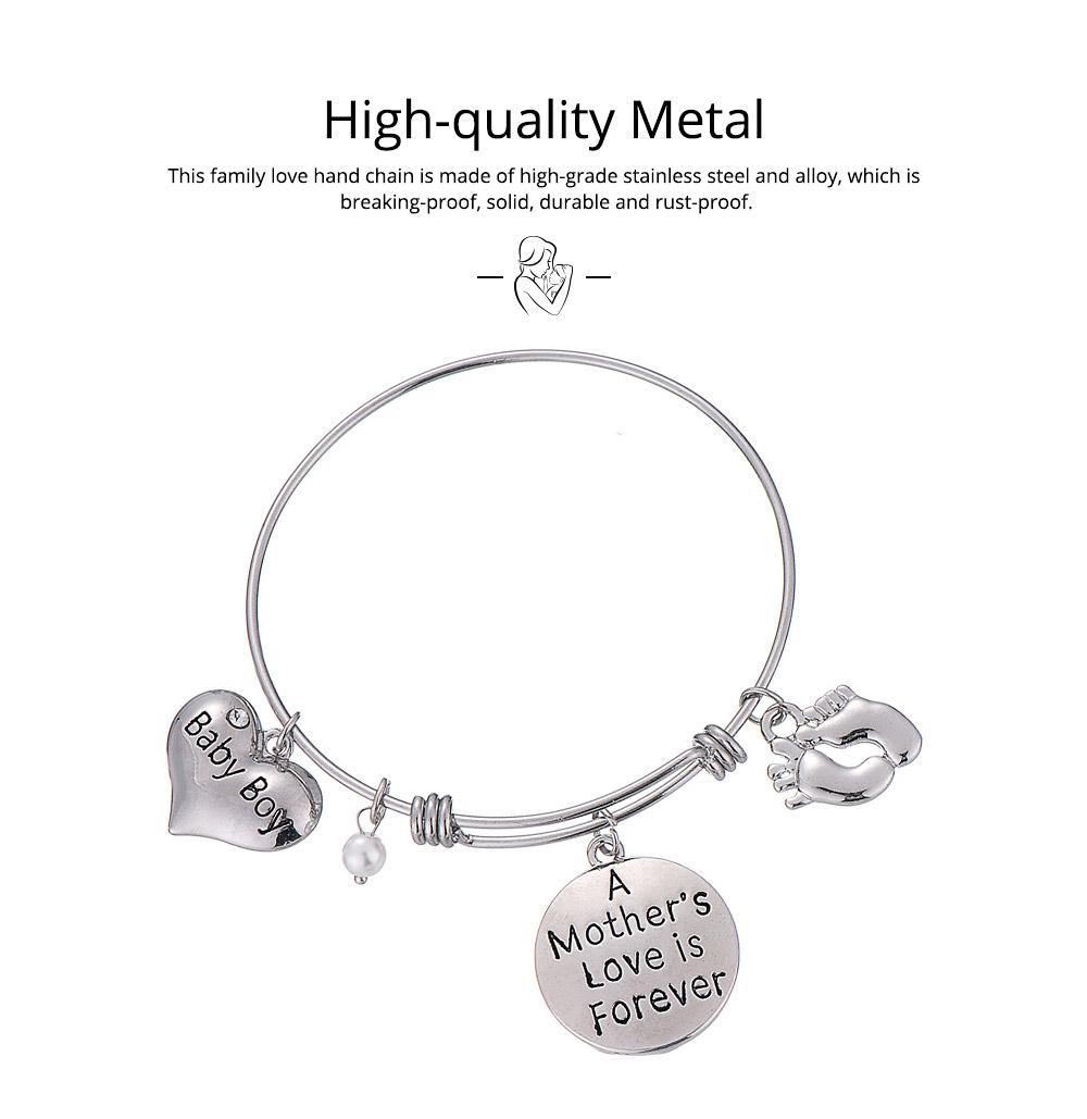 Heart Shaped Stainless Steel Bracelet, Pendant Mother Love Baby Boy Letter Decoration 1