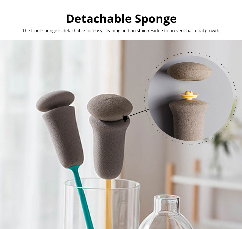 Sponge Bottle Brush Cup Scrubber Long Handle Polyurethane Cleaning Brush Kitchen Cleaner for Tea Glass Chinaware Porcelain Mug 4