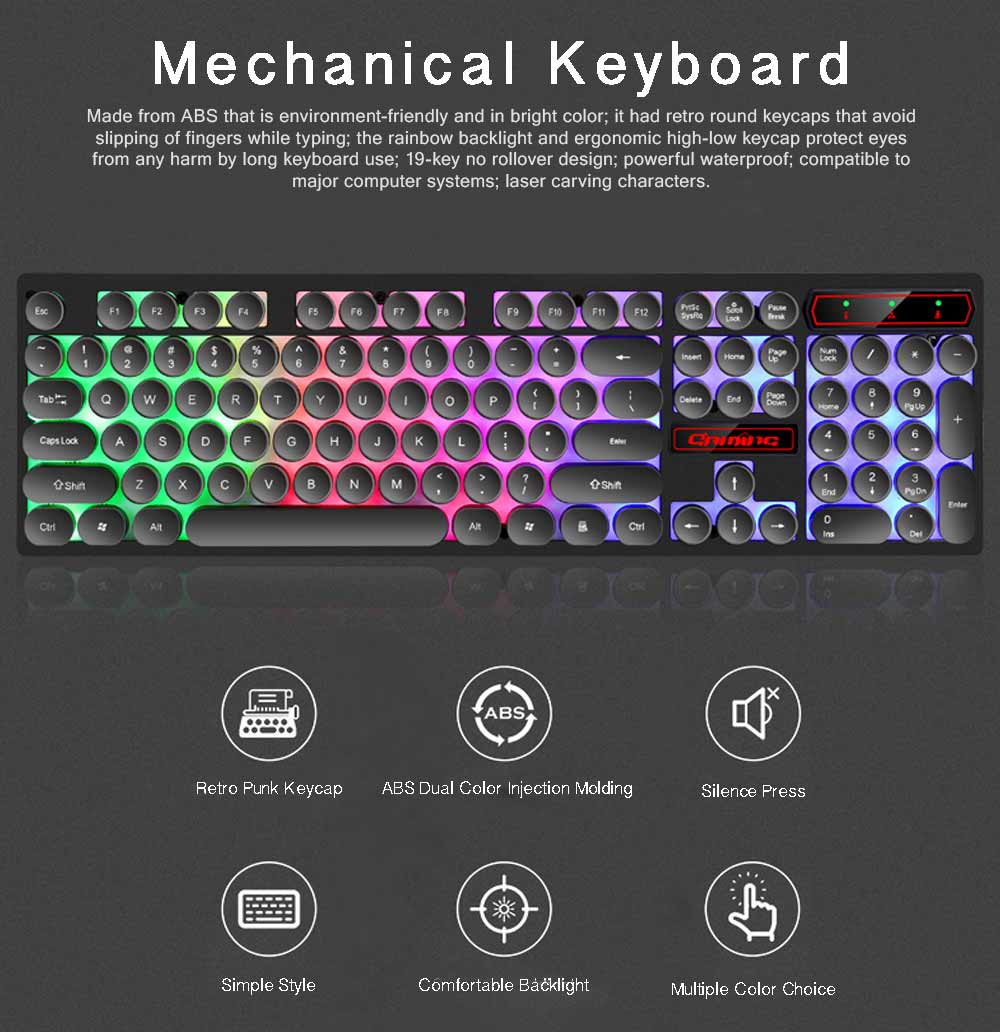Retro Punk Mechanical Keyboard with Wire Game Keyboard Light Computer Accessories 0