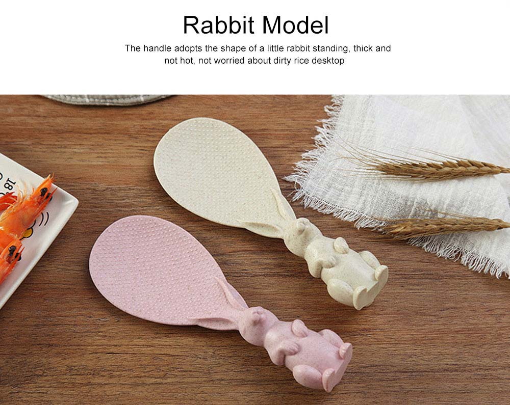 Wheat Straw Rice Spoon with Cute Bunny Design, Non-stick Solid Rice Shovel Heat Resistant Scoops for Household Use 6