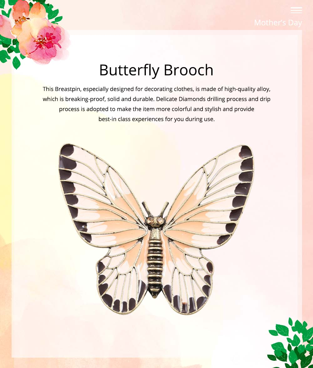 Stylish Atmosphere Butterfly Cartoon Insect Brooch for Ladies, Diamonds Drilling Dripping Clothes Accessories Decoration Breastpin 0