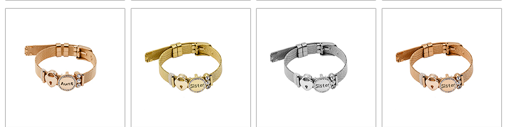 Stylish Heart Lock Model Mother Love Diamond Drilling Stainless Steel Bracelet, Family Love Electroplating Silver Gold Chain Bangle for Mothers 8