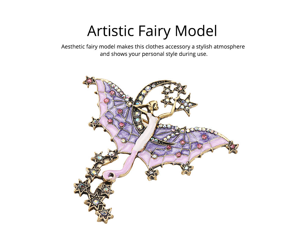 Dainty Fairy Stars Moon Model Alloy Brooch for Women Ladies, Stylish Bag Clothes Decoration Breastpin with Diamond Drilling Ornament 3