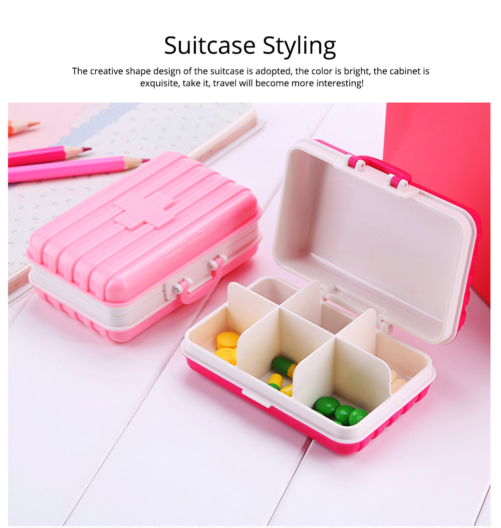 Portable 7-day 6 High Partition Pill Box with Suitcase Style, Large Capacity Moisture-proof Pill Case 4