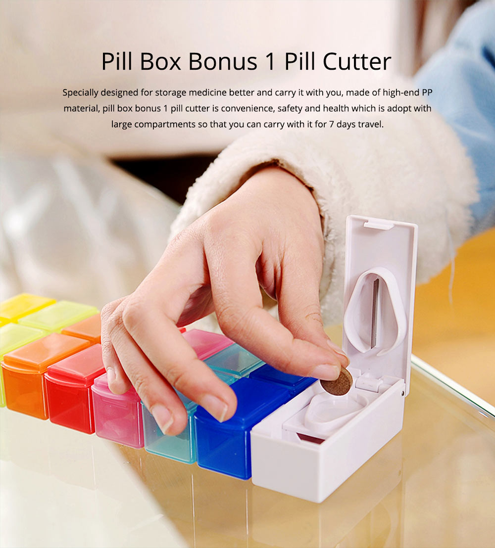 7 Day Detachable Pill Organizer with Pill Cutter, Travel Portable Weekly Medicine Dispenser 0
