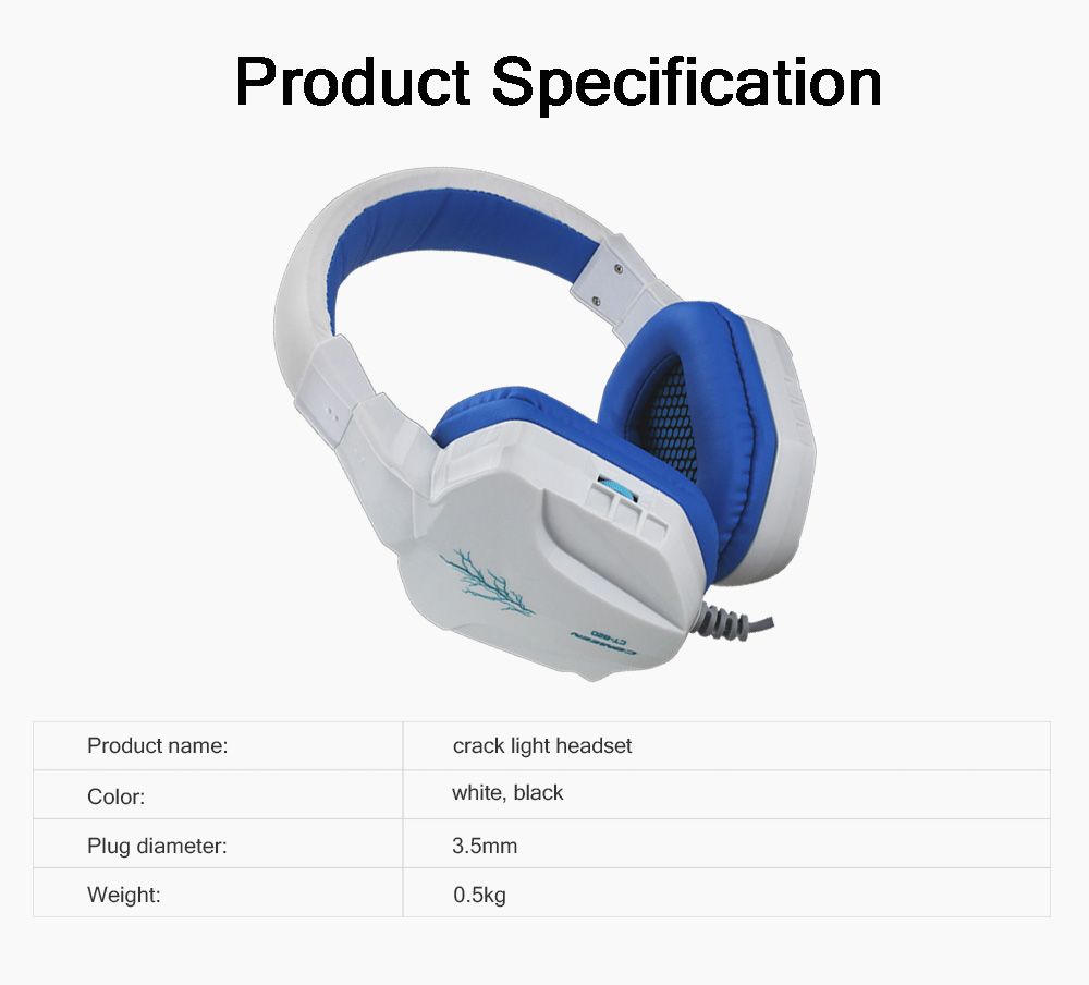 Headset with Microphone for Gaming Headset Luminous Headset Mega Bass Headphone Crack Luminous Headphone 7