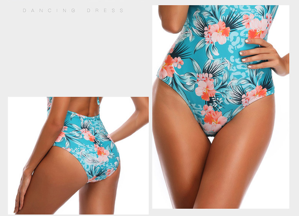 Backless Sexy Swimsuit with Carrying Buttock & Band Design, Printing Skin-friendly Comfortable Swimsuit 4