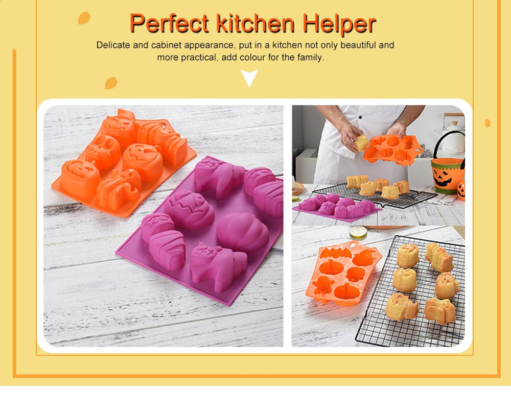 Silicone Cake Mould with Portable Hole, Halloween Style Baking Cake Mold, High Temperature DIY Baking Utensils 5