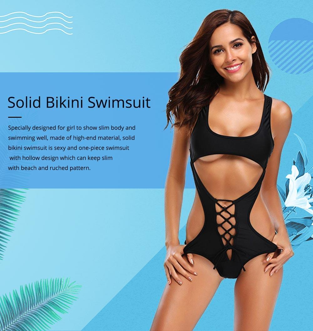 Solid Bikini Swimsuit with One-piece Design, Black Cutout Sexy Bikini, Skin-friendly Comfortable Swimwear 0