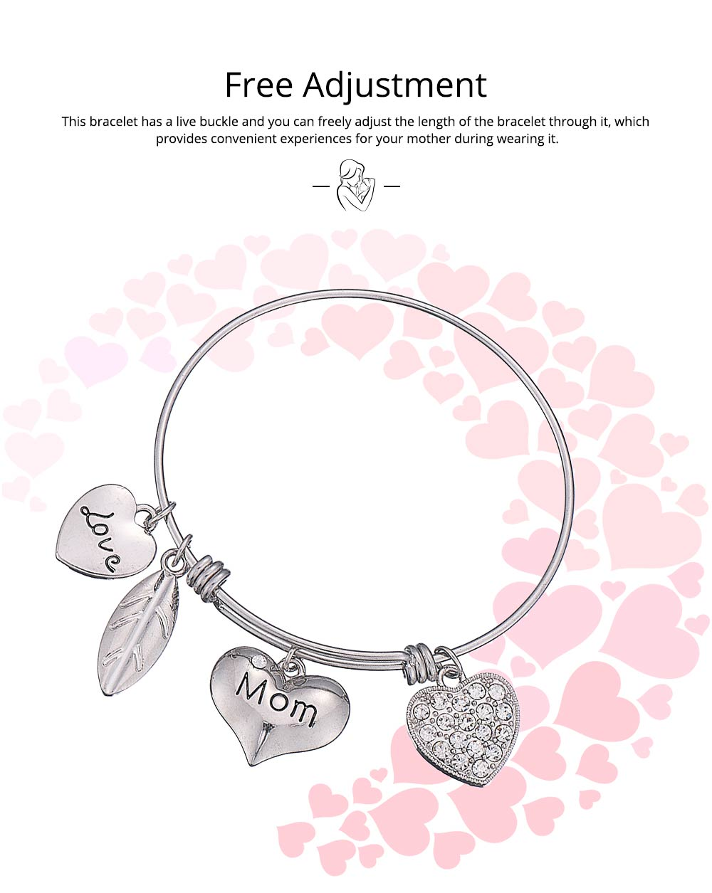 Stylish Heart Model Diamond Drilling Stainless Steel Bracelet, Mother Love Letter Electroplating Adjustable Silver Chain Bangle for Mothers 3