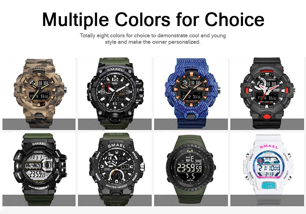 Waterproof Luminous Electronic Watch Red Display For Men Multifunctional Professional Sports Watch 5