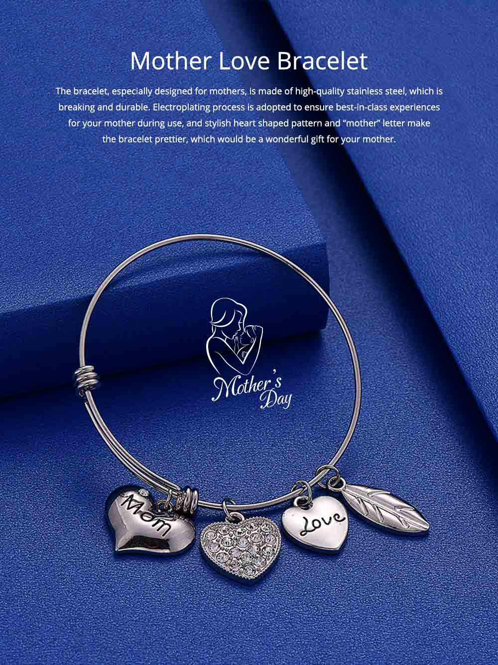 Stylish Heart Model Diamond Drilling Stainless Steel Bracelet, Mother Love Letter Electroplating Adjustable Silver Chain Bangle for Mothers 0