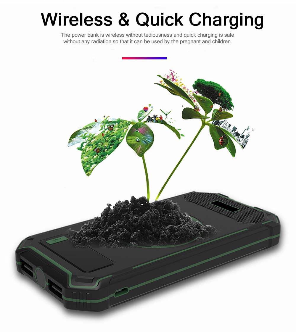 Wireless Power Bank with Display for Outdoor Use, Mobile Power Bank 10000mAh Ultra Slim Quick Charge with Wall Plug 1
